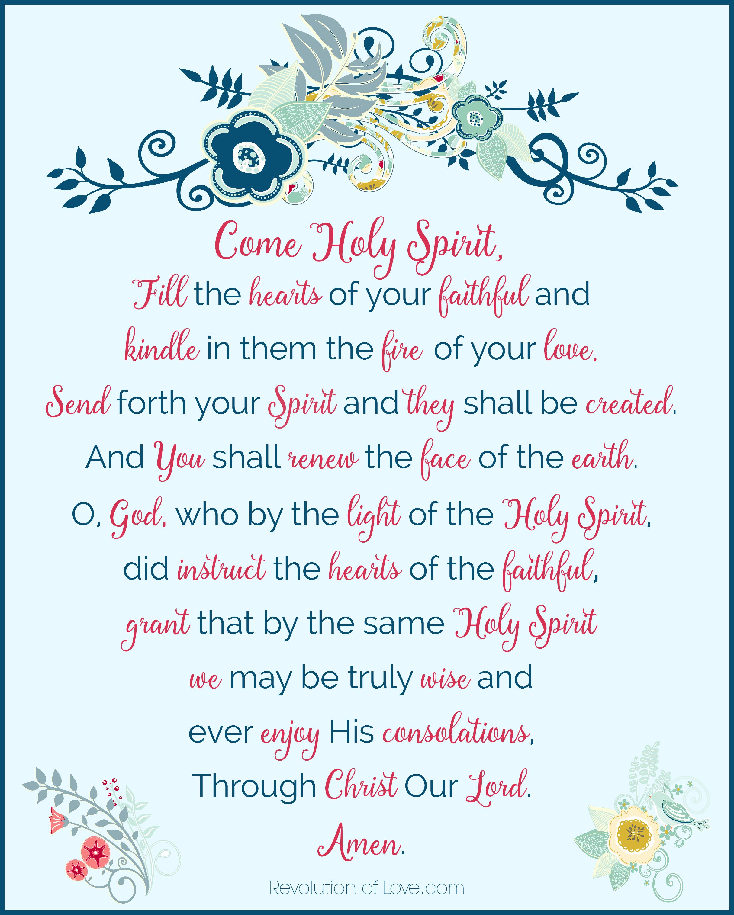 picture relating to Come Holy Spirit Prayer Printable identify Pinterest Bash Url-up (vol 39): Holy Spirit Prayer Free of charge