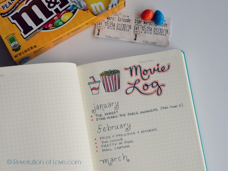 RevolutionofLove.com - Bullet Journal Spring Update //bujo_movie_log_mar