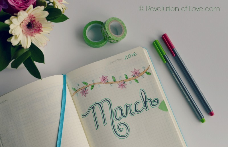 RevolutionofLove.com - Bullet Journal Spring Update //bujo_title_march