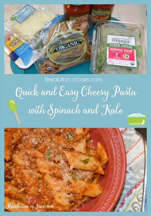 Quick and Easy Cheesy Pasta with Spinach and Kale(pasta_spinach_logo)